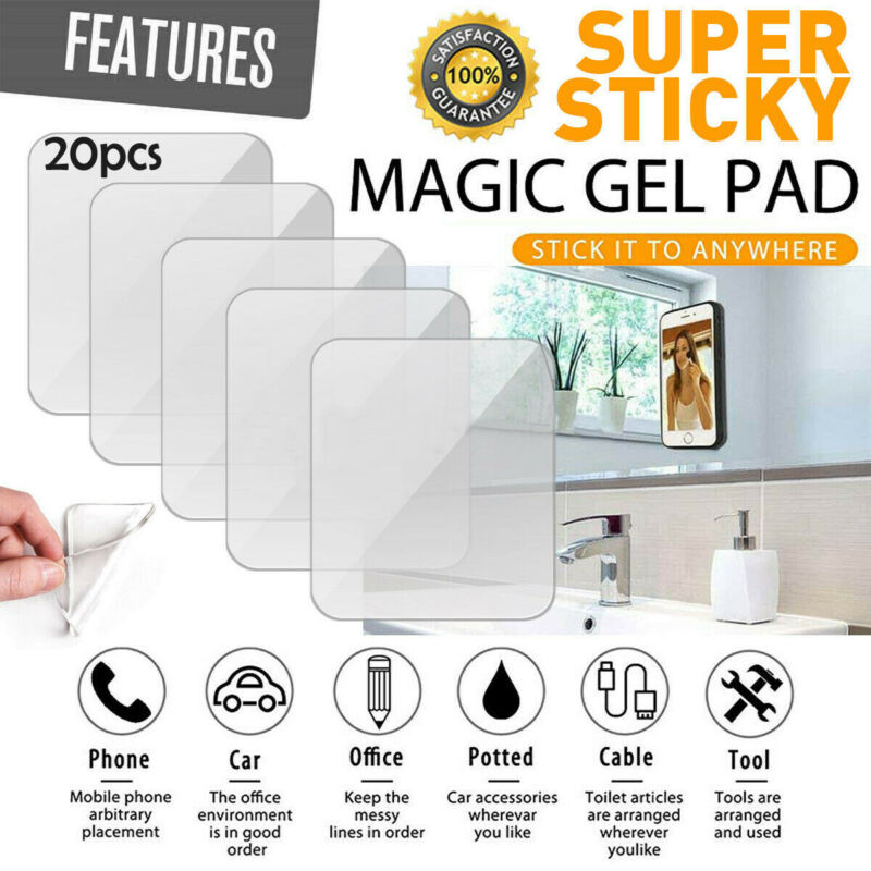 20pcs/lot Super Sticky Silicone Gel Pads Transparent Clear Anti-Slip Gel Pads Auto Gel Holders Durable Washable Cell Pad Hook Up