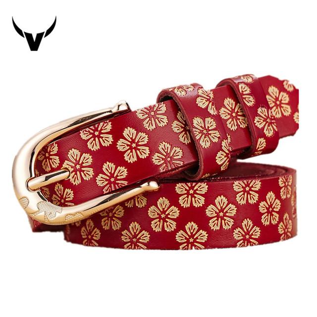 2016 novo 100% genuíno da correia de couro das mulheres Do Vintage cinto cinta pin fivela cowskin Embossing moda boa qualidade cintura W9