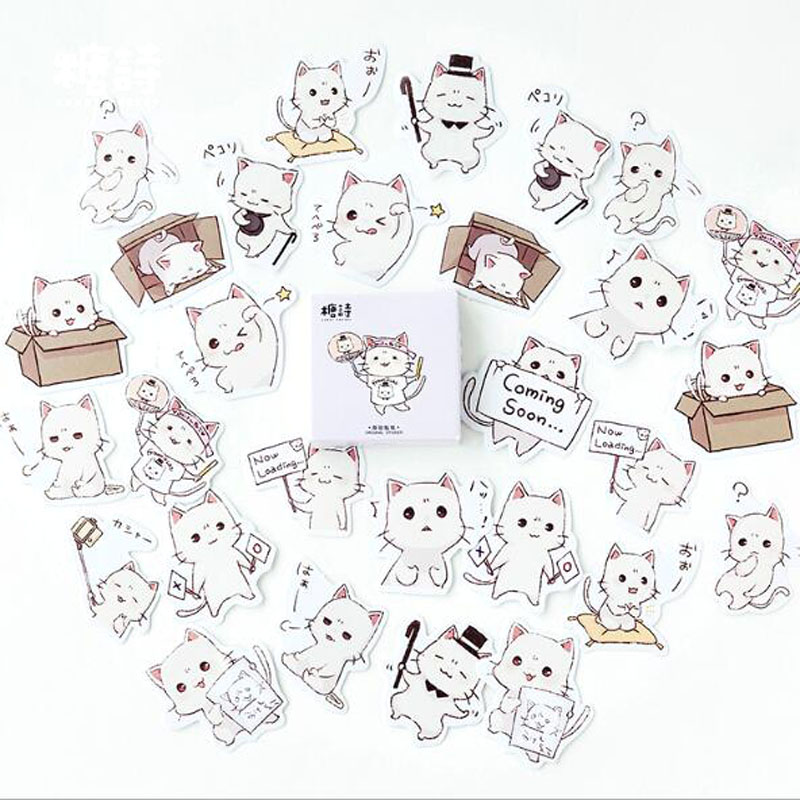 45PCS/box Cute Meng Cats Diary Paper Lable Sealing Stickers Crafts And Scrapbooking Decorative Lifelog DIY Stationery45PCS/box Cute Meng Cats Diary Paper Lable Sealing Stickers Crafts And Scrapbooking Decorative Lifelog DIY Stationery