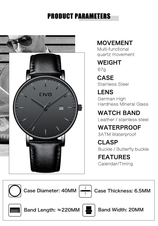 CIVO Men Watch Ultra Thin Minimalist Waterproof Date Wrist Watch For Men Black Genuine Leather Business Fashion Watch Men Clock 5