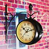 Charminer Double Sided Round Wall Mount Station Clock Garden Vintage Retro Home Decor Metal Frame Glass
