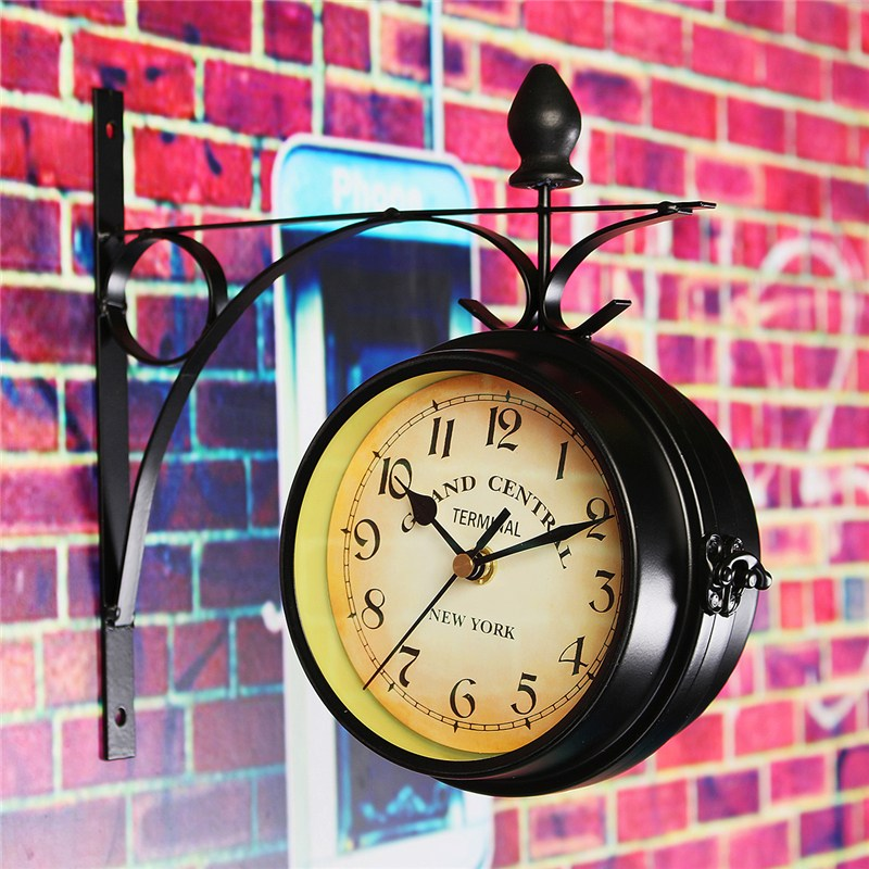Station Clock Wall-Mount Garden Home-Decor Retro Vintage Double-Sided Round Metal  title=
