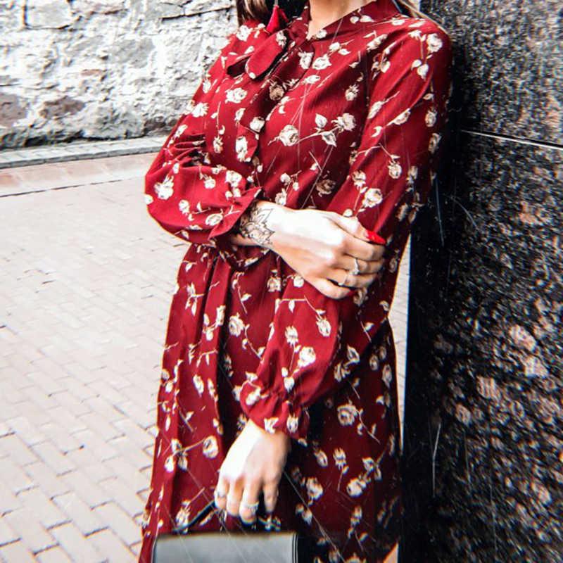 Летнее корейское шифоновое женское платье элегантное женское винтажное длинное платье Бохо цветочное офисное с длинным рукавом vestidos одежда 5LYQ003