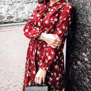 Image 5 - Summer Korean Chiffon Women Dress Elegant Ladies Vintage Long Dress Boho Floral Office Long Sleeve Vestidos Clothing 5LYQ003
