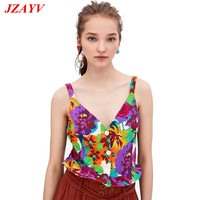 JZAYV Fashion Summer Style Short Tank Tops Fresh Floral Printing Vest Sexy Tee Women Cute Crop