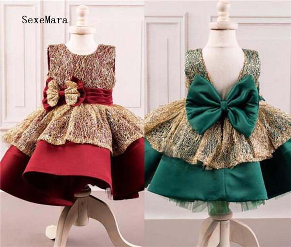 Beautiful Green/Burgundy Puffy ball gown Kids celebration pageant gown girl birthday dress with bow baby girls party gown  Beautiful Green/Burgundy Puffy ball gown Kids celebration pageant gown girl birthday dress with bow baby girls party gown