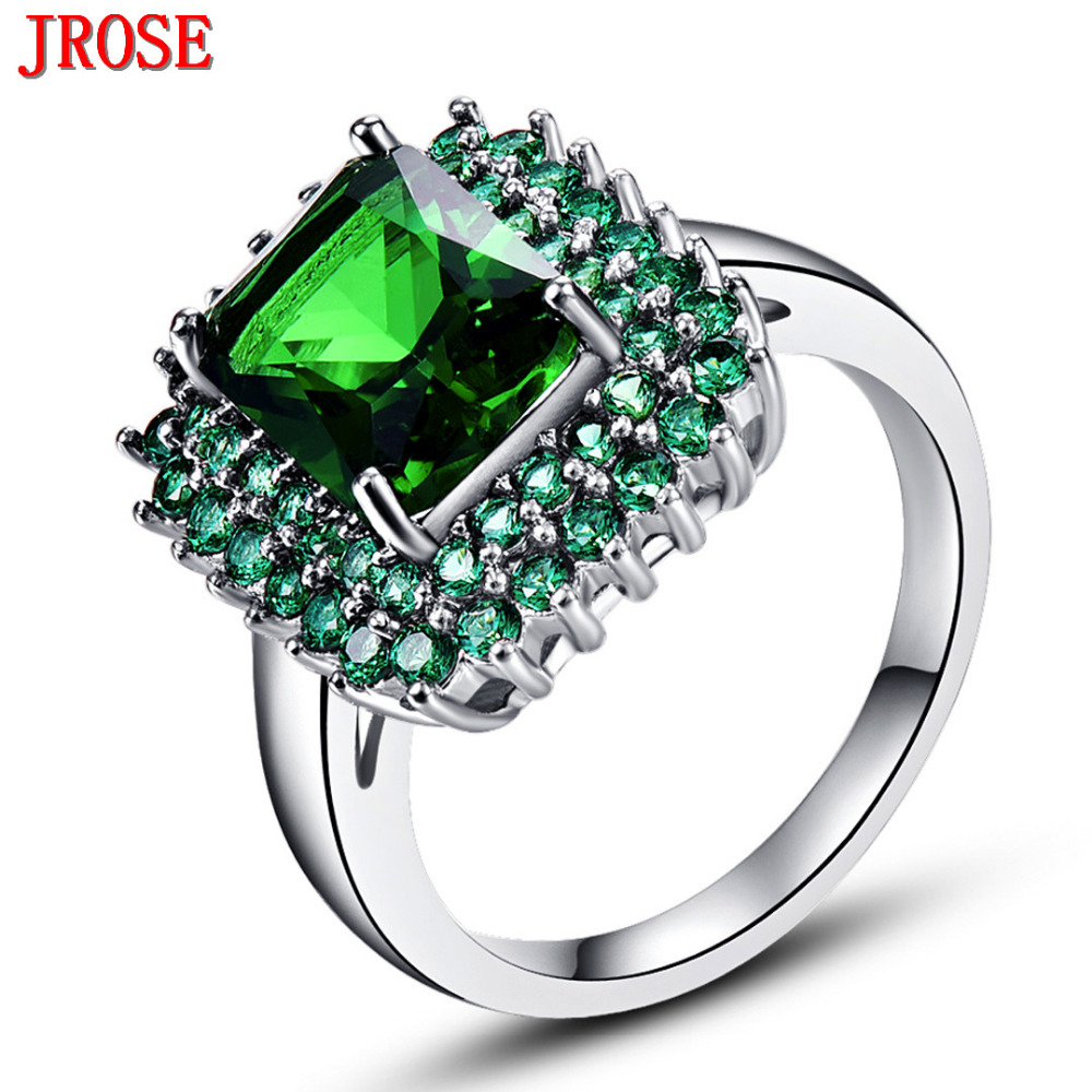jrose wholesale fashion green white gold color ring for womenmen size 6 7 8 9 10 - Target Wedding Rings