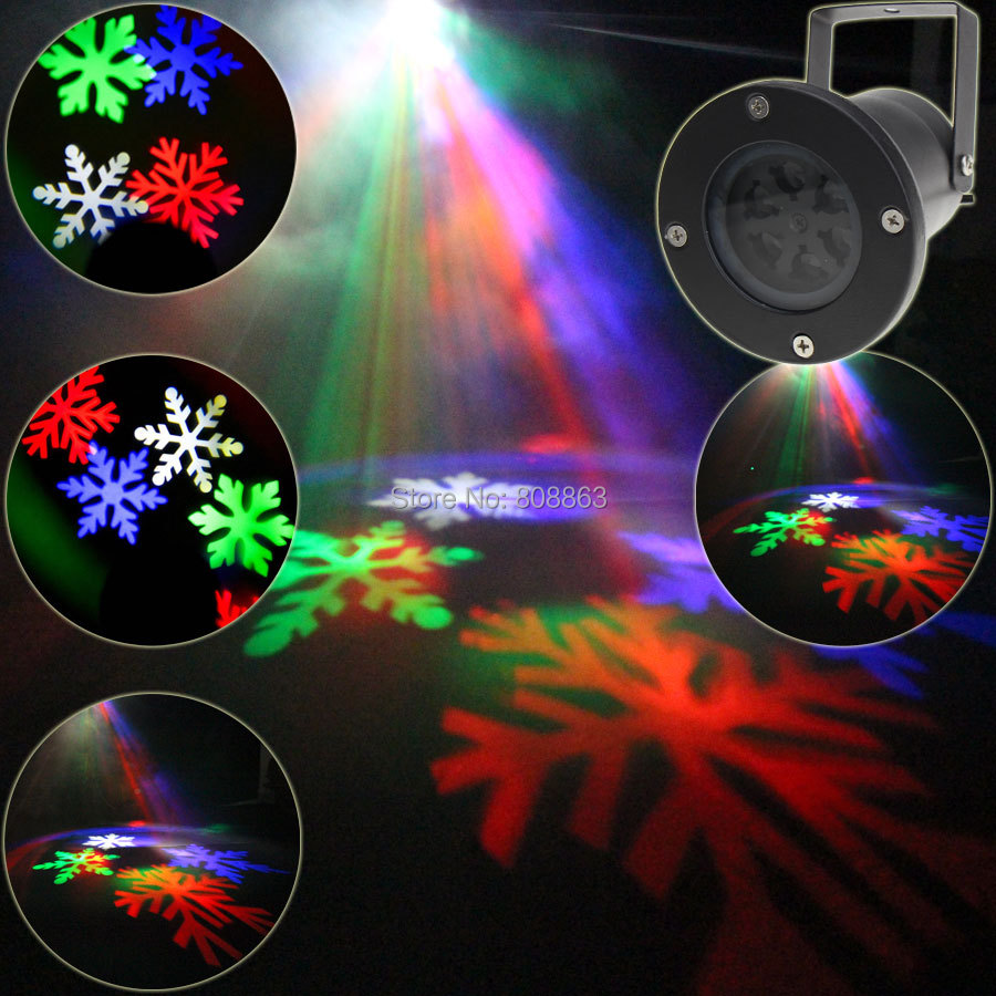 Outdoor White RGB LED Christmas Snow Pattern Projector Shop House Dance Disco Party Xmas Tree DJ Wall Landscape Garden Light T82