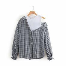 b9c20092835d Las mujeres casual plaid impresión color patchwork falsa de dos piezas  vestido blusa camisa mujer chic empalmado blusas feminina.
