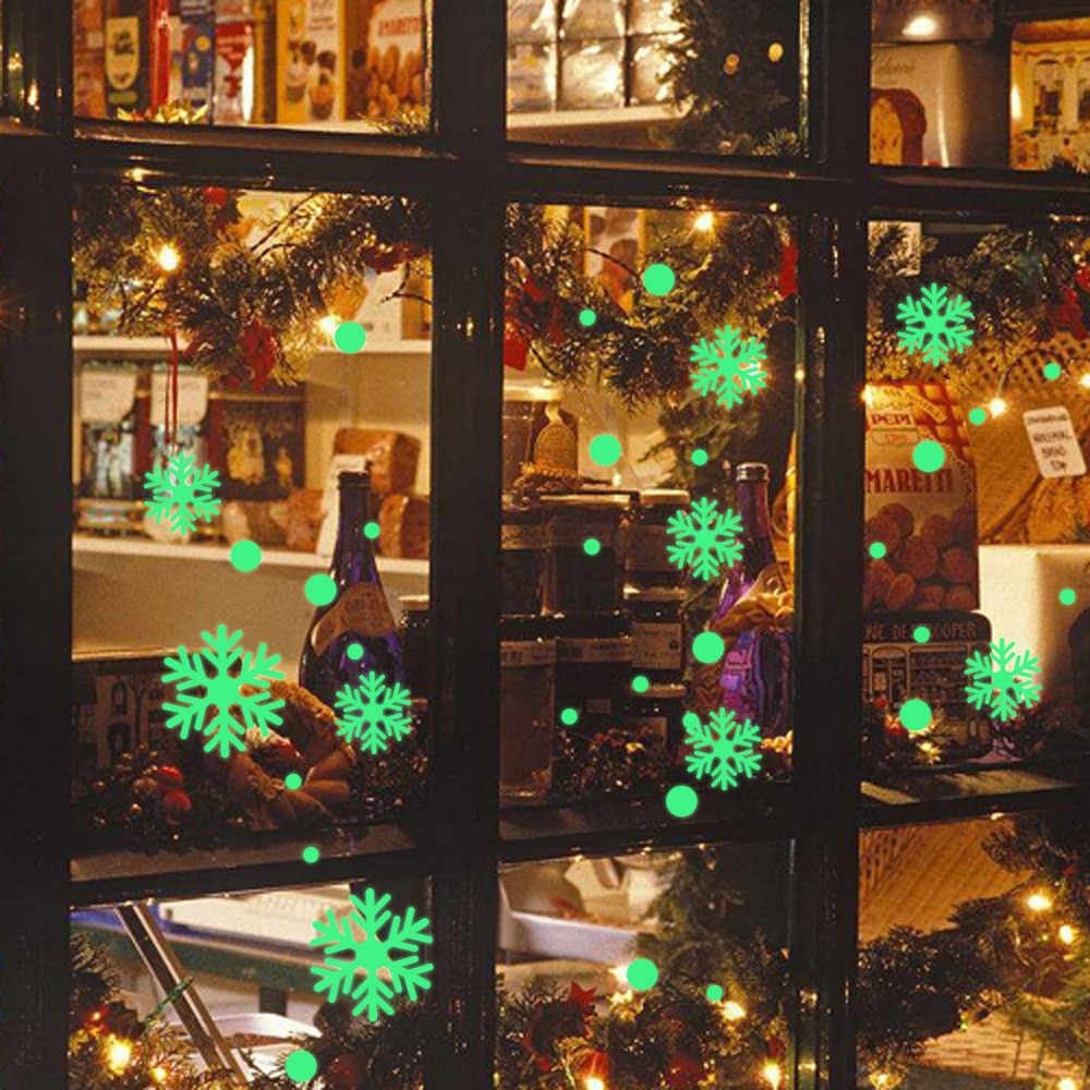 Glow In Dark Christmas Snowflake Window Sticker Luminous Removable Glass Wall Stickers for Kid Room Bedroom Christmas Home Decor