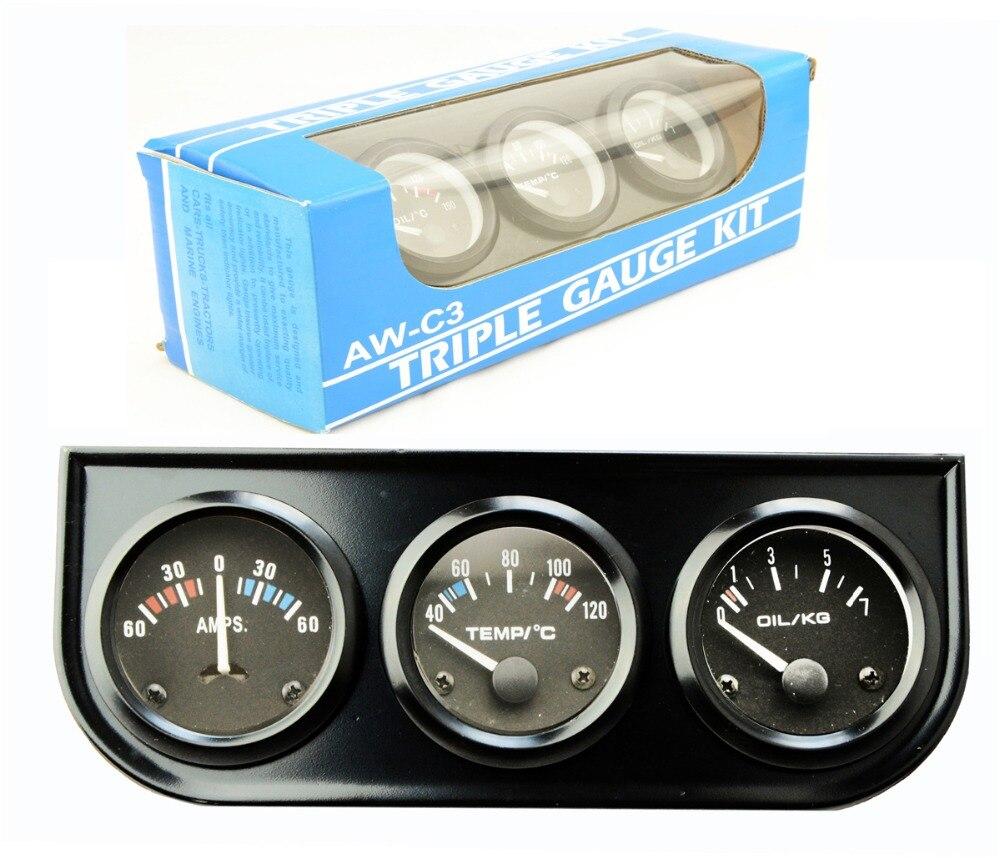 52mm Triple kit Ammeter Water Temp Gauge Oil Pressure Gauge Sensor 3in1 Car Meter Auto G ...