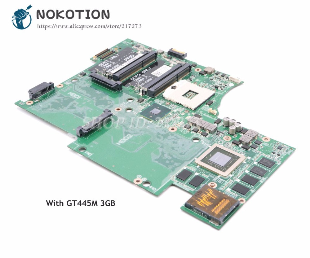 NOKOTION For Dell Studio XPS 17R L701X Laptop Motherboard CN-053JR7 053JR7 Main Board HM57 DDR3 GT445M 3GB Support I7 original usb ethernet hdmi board for dell xps one 2710 09r92h 9r92h cn 09r92h 100