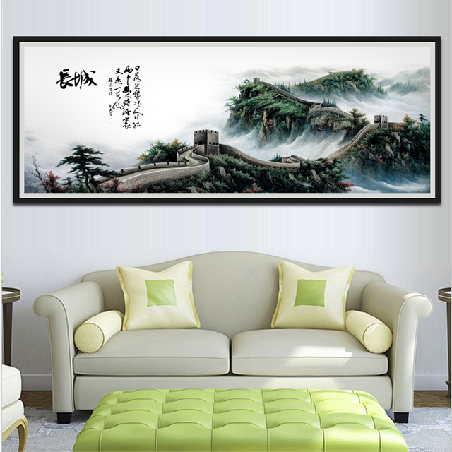 Grote Foto Aan De Muur.1 Stuk Klassieke Chinese Stijl Unframed Muur Foto De Grote Muur Canvas Schilderij Voor Woonkamer Sofa Wanddecoratie