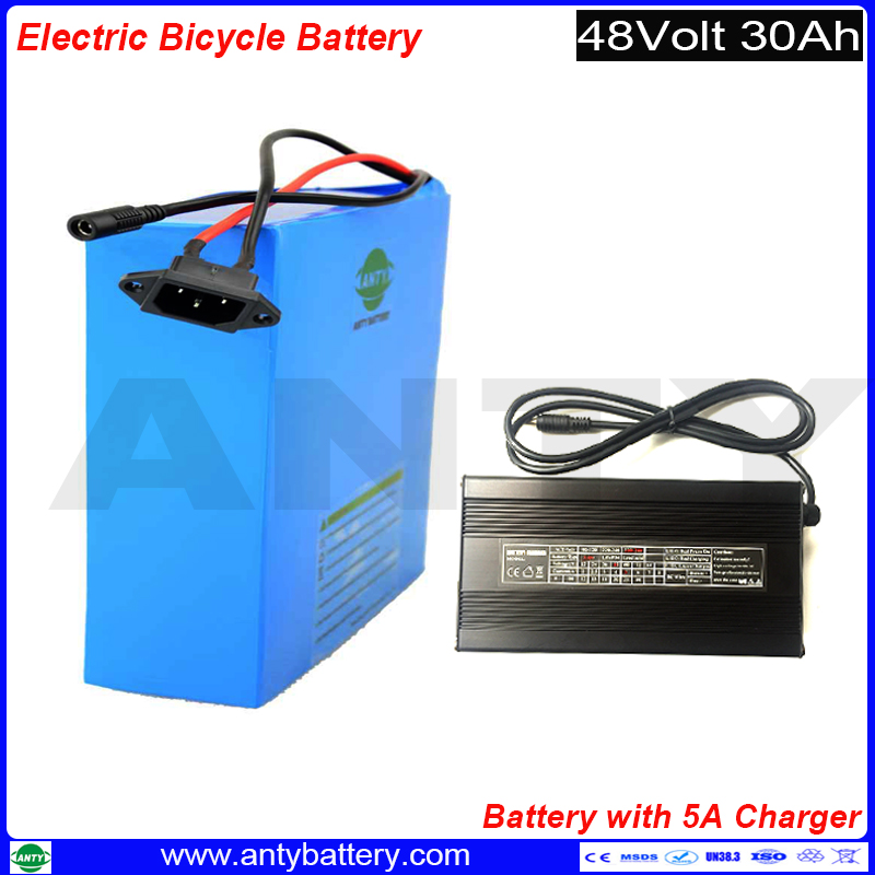 Rechargeable Battery Pack 48v 30Ah 1800w Lithium ion Battery Built in 50A BMS with 5A Charger eBike Battery 48v Free Shipping