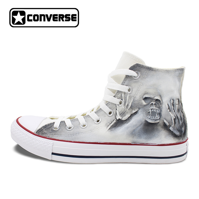 Gray High Top Converse All Star Skull Zombie Original Design Hand Painted Shoes Men Women Sneakers Skateboarding Shoes Unisex hand painted skull flower converse chucks men women skateboarding shoes floral canvas sneakers high top flats