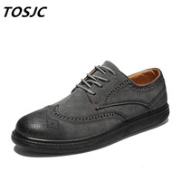 TOSJC 2018 New Man Brogue Shoes Casual Derby Shoes Lace Up Man Footwear Green Color Fashion