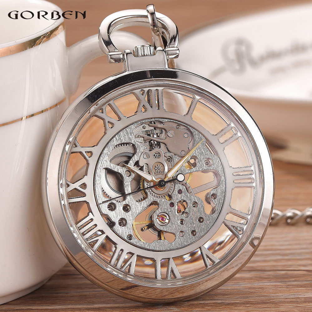 Silver Black Fashion Men Vintage Hand Wind Pocket Watch Transparent Roman Number Antique Cool Mechanical Pocket Watch With Chain купить