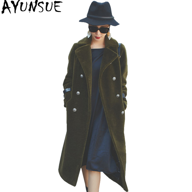 AYUNSUE Womens Natural Sheep Shearing Genuine Thick Fur Coat Women 2017 Winter Long Coats Trench Female Clothing casaco WYQ788