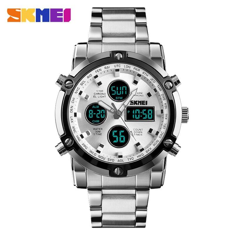 SKMEI de lujo superior reloj de cuarzo hombres reloj de moda reloj Digital hombre relojes cuenta atrás resistente al agua relogio masculino1389