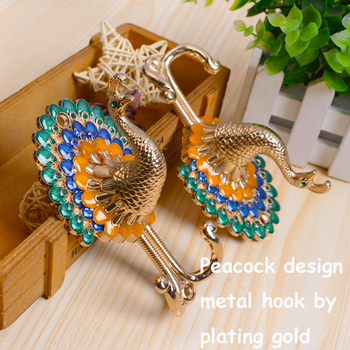 High quality eco-friendly plated process colorful peacock design Znic alloy curtain hooks tiebacks holdbacks can mixed order