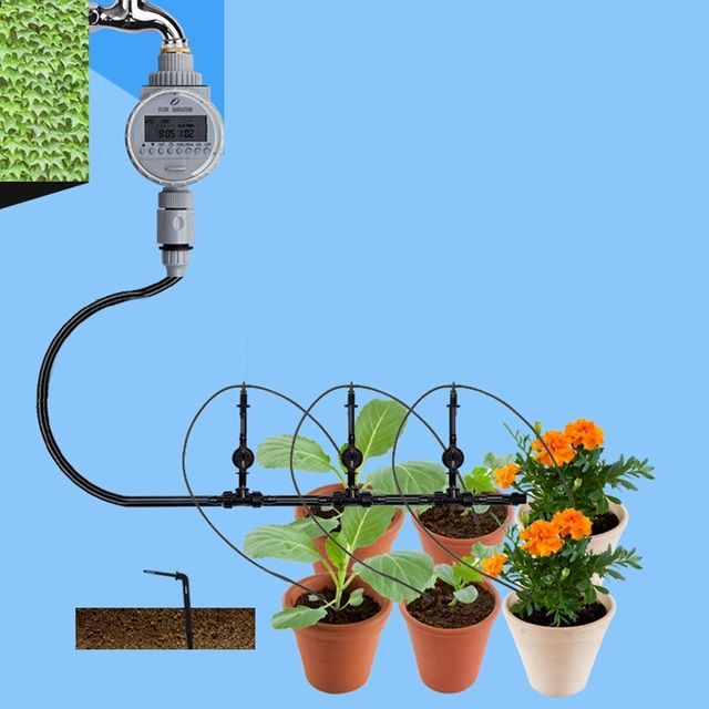 1set Solar Garden Irrigation System 10pcs Arrow Drippers PV Timer Controller Bonsai Potted Flower Drip Irrigation Watering Kits