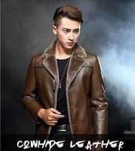 Genuine Leather men's coat Man Cow leather jacket Wool inside a suit winter jackets High Quality Leather coats Free Shipping