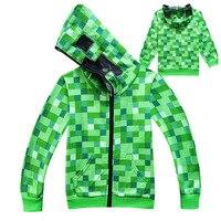 Hot Sale Minecraft Green Thin Hoodies Coats Spring Autumn Cartoon Creeper Coat Children Sweatshirts Birthday Gift
