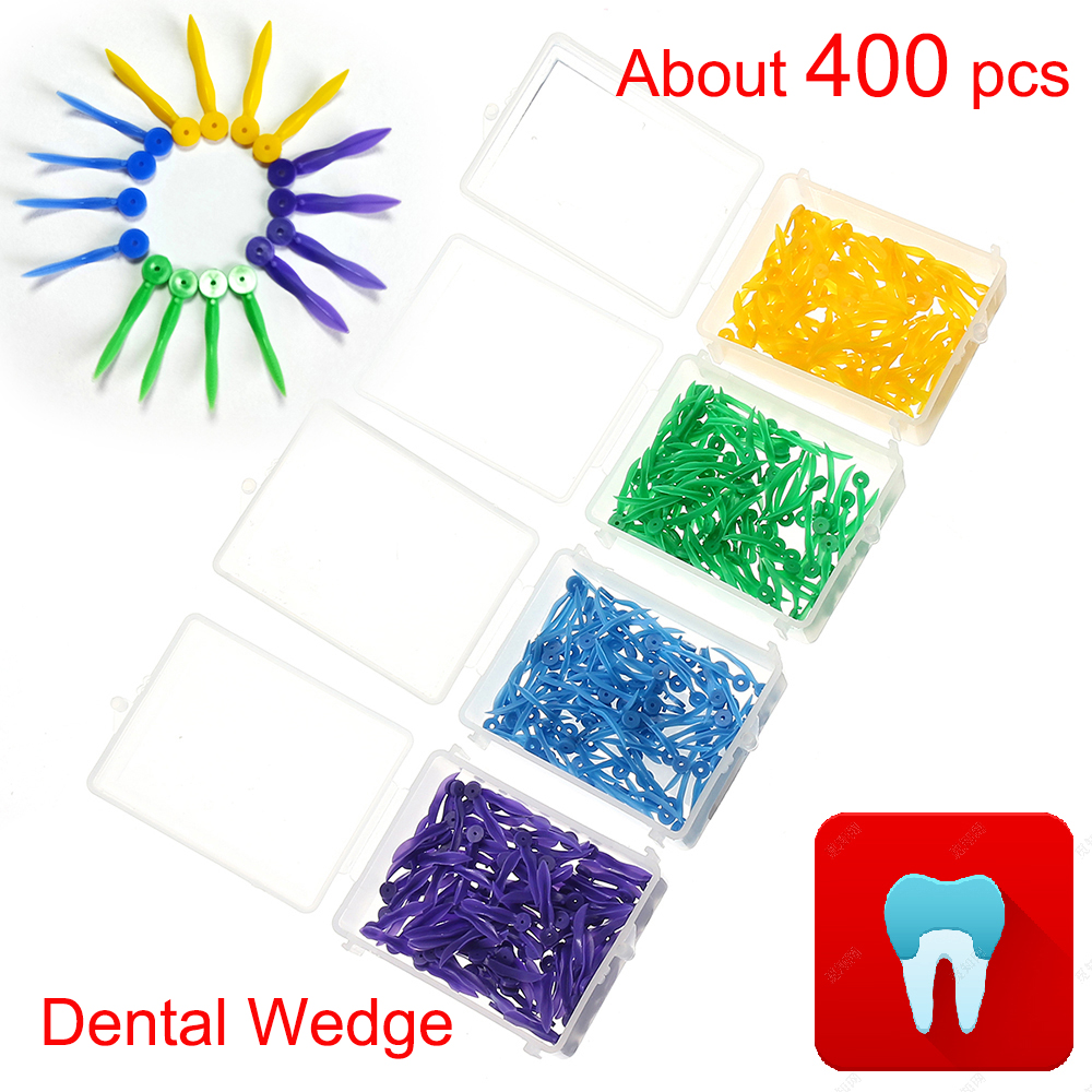 400 pcs Dental Disposable Wedge with Hole All 4 Sizes Dentist Materials Dentistry Insturment Dental Tools Teeth Wedge 4 Color(China)