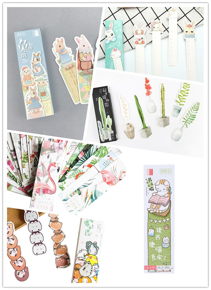 30pcs/pack Cute Round Rolling Cat Plant Rabbit Bookmarks Seven Choices School And Office Suppliers