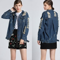 CFYH 2018 New Autumn Women Sexy Fashion Hole cowboy Jackets Punk Rock Flat Shouders Slim cowboy Coats Plus Size XXL