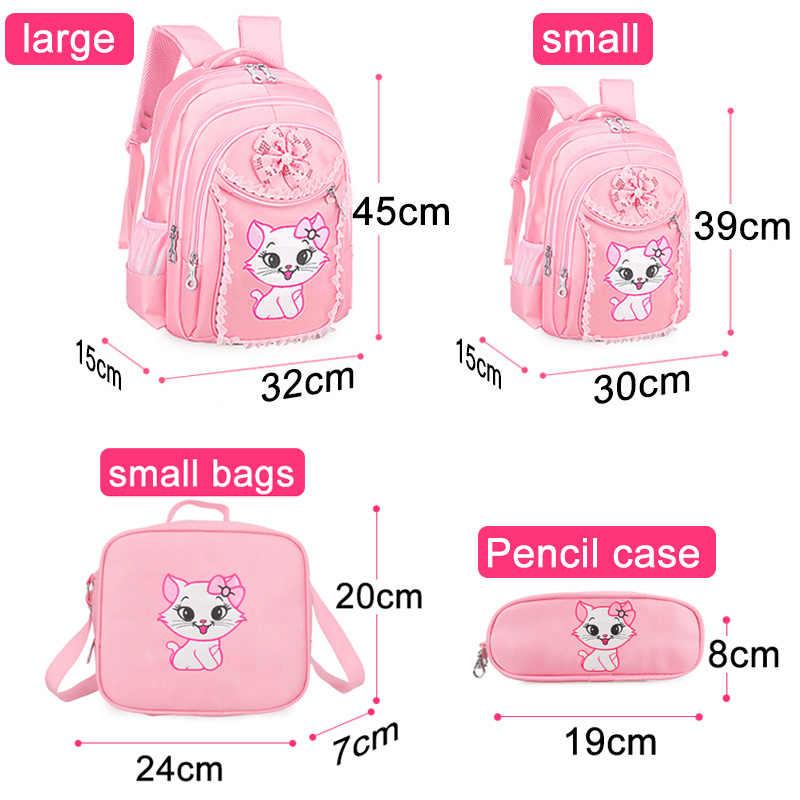 Портфолио школьные рюкзаки для девочек 2019 милые Мультяшки, для принцессы Кошка детский рюкзак для детей кружево рюкзак Начальная Школа Рюкзак