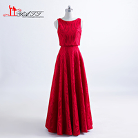 Hot New Arrival 2017 Red Lace Evening Prom Dresses Two Pieces Jacket Long Sexy Cheap Vintage