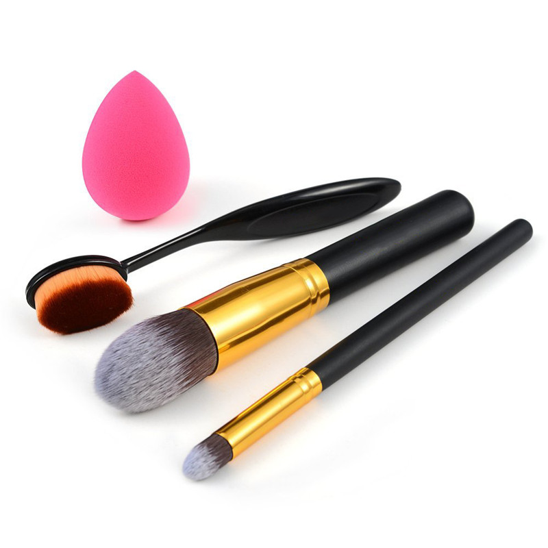 Flazea 4 PCS Makeup Powder Blush Foundation Brush+Sponge Puff Make Up Brushes Tool Cosmetics Set Kits bob cosmetic makeup powder w puff mirror ivory white 02