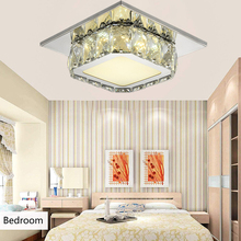 Square 12W LED Ceiling Light Crystal Stainless Steel Modern Ceiling Lamp Bedroom Lamp For Home Porch Corridor Kitchen Lighting square corridor corridor porch lamp light led crystal ceiling lamp balcony kitchen bathroom home ceiling light zh