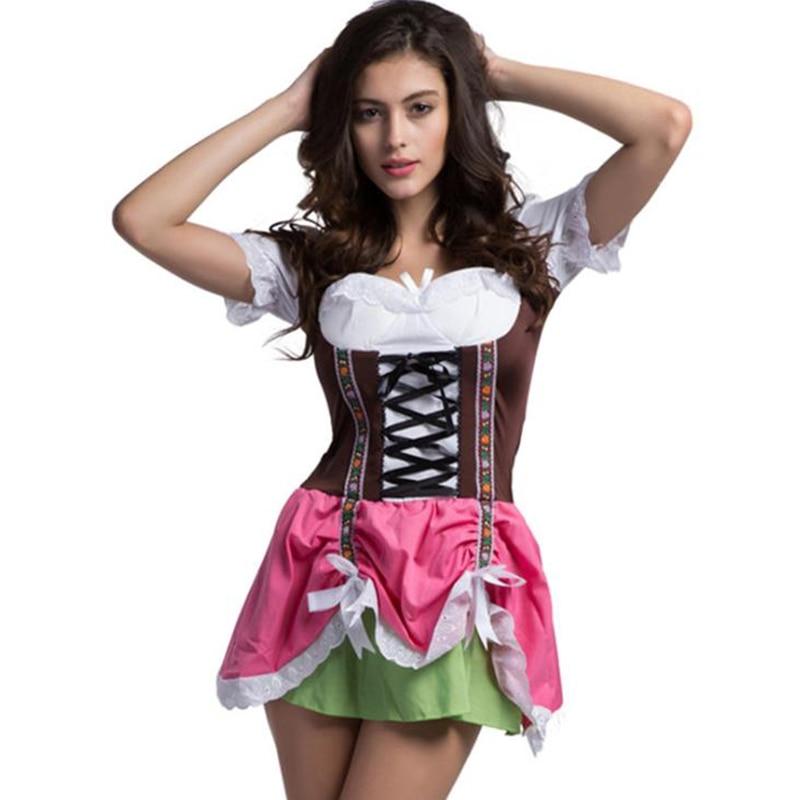 New Fashion Oktoberfest Costume German Bavarian Heidi Fancy Dress Up Dirndl Lederhosen Beer Girl Maid Costume Women Dress