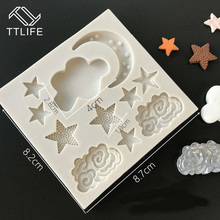TTLIFE Star Moon Cloud Shape Silicone Fondant Mold Dessert Decorators Chocolate Cookie Mould Confectionery Pudding Cake Decor