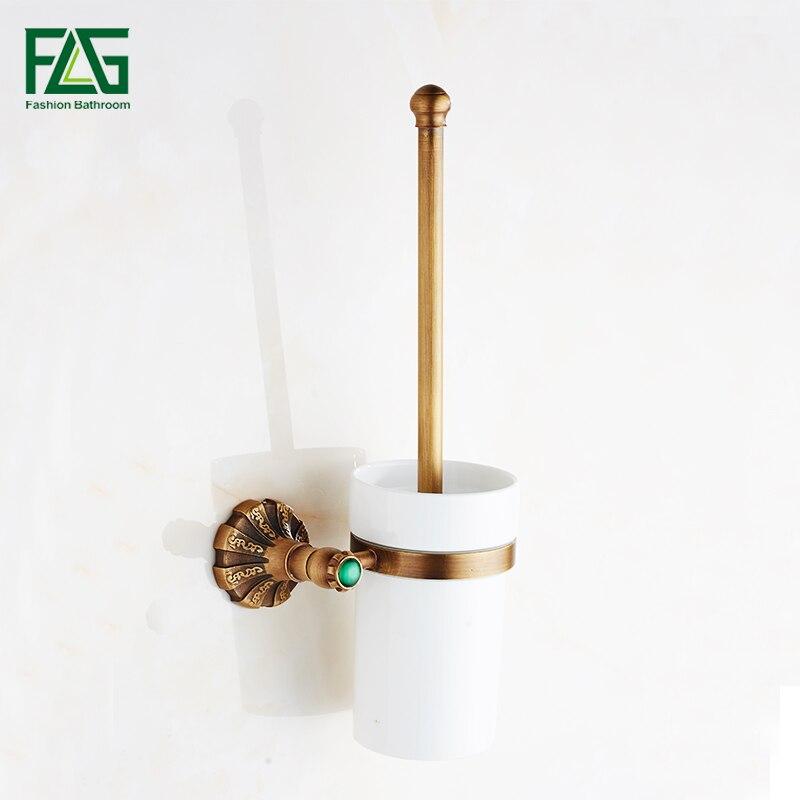 Flg Toilet Brush Holders Antique Brass Wall Mount Brush
