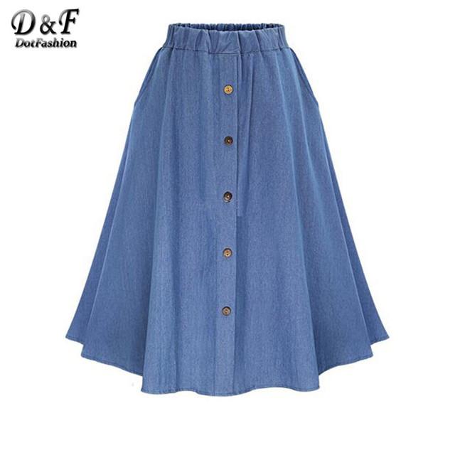 Dotfashion 2016 lisos femeninos flare con botones de la falda del otoño nuevo estilo denim elástico de la cintura una línea de falda larga