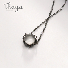 цена Thaya Natural Crystal s925 Silver Necklace Black Chain Nest Type Pure Gemstone Pendant Necklace for Women Valentine Gift онлайн в 2017 году
