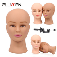 Plussign Female Manikin Head With Clamp No Hair Cosmetology Bald Mannequin Heads For Wigs Hats Lashes