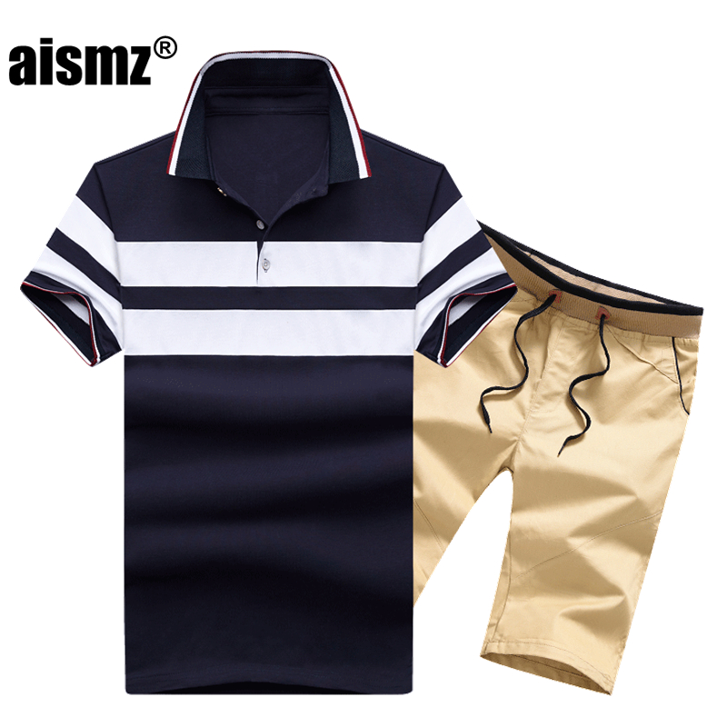 Aismz 2018 New Summer Casual Tracksuit Men Fashion Short Sleeve Polo Shirt+Shorts 2pcs Set Moletom Masculino Mens Sportswear