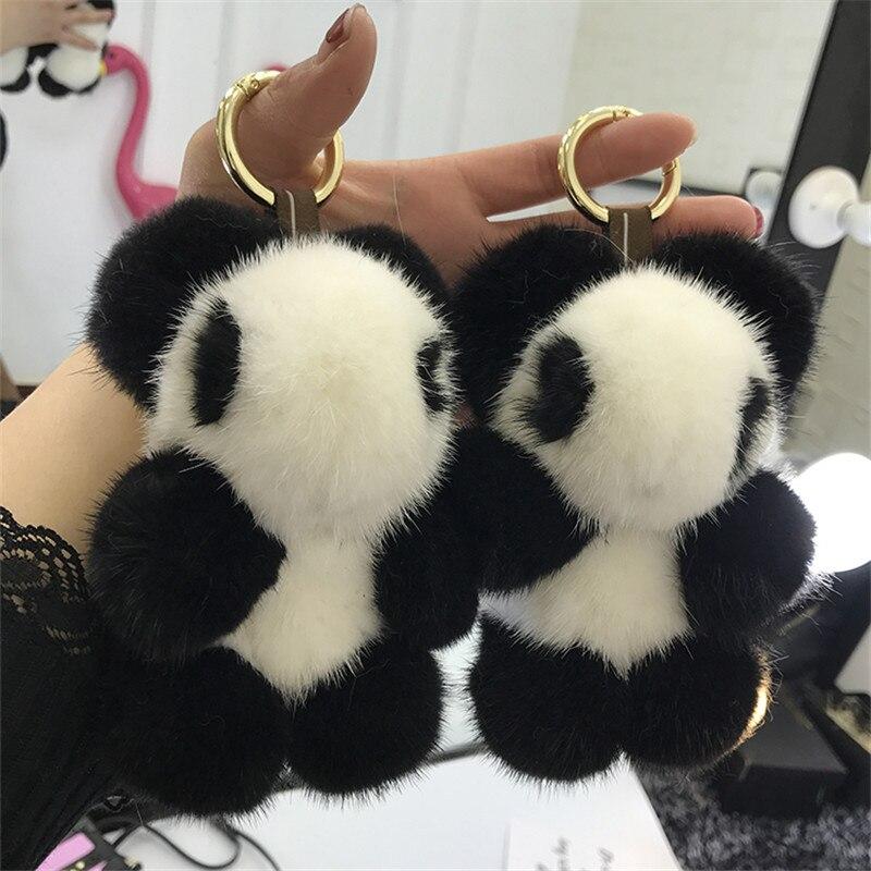 14 cm Panda Sacs Sticks Animaux CharmReal Vison Laine Sacs Sacs À Main Plaisir Monsters Insectes Véritable Renard Tau Bom Pomo Clé pendentif