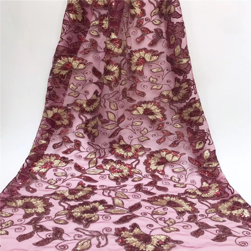 Mesh Floral Sequins Fabric Pink with Gold Sequins 110cm