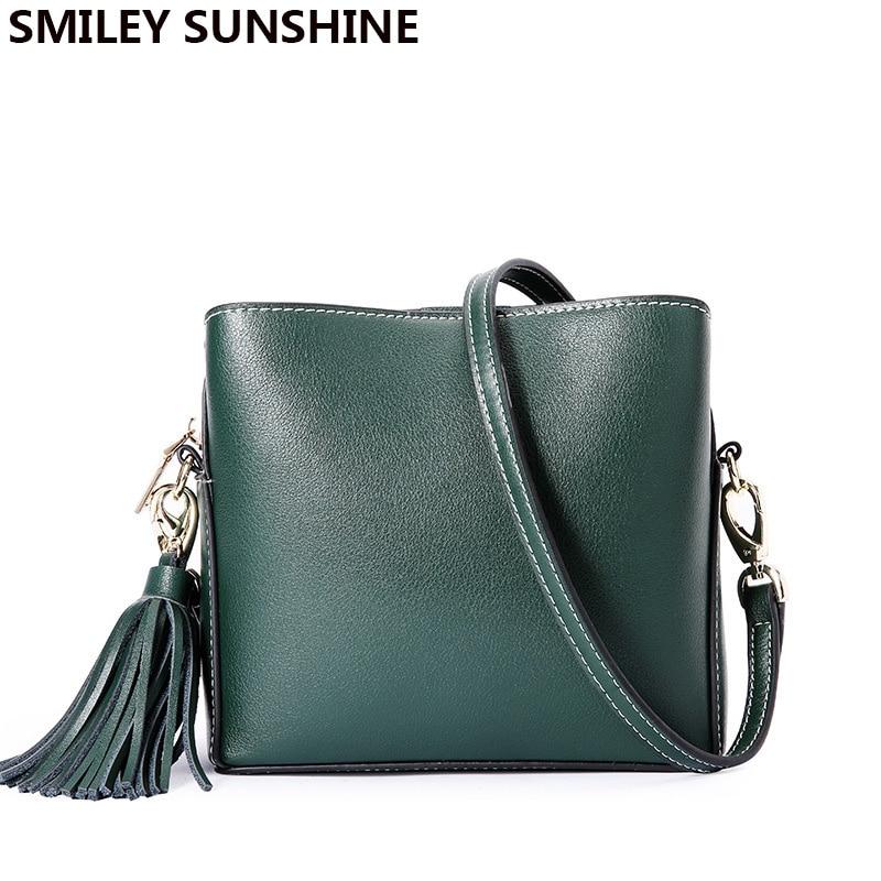 SMILEY SUNSHINE Women Genuine Leather Shoulder Bag Female Fashion Crossbody Handbag Casual Ladies Messenger Top-handle Bags New цена