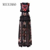 Custom Plus Size Dress Maxi Dress Women Floor Length Sleeveless Elegant Rose Flower Print Floral Embroidery Vintage Long Dress