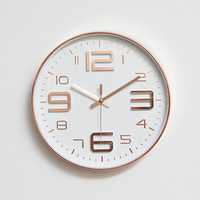 Atmospheric Alarm Clock Wall Clock Modern Simple Mute Rose Gold Bedroom Living Room Round Home Decor Wall Clock