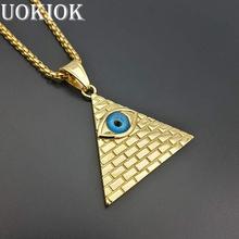 Golden Egyptian Pyramid Necklaces Pendants For Men Women Gold Color Stainless Steel Illuminati Evil Eye Of Horus Chains Jewelry светильник illuminati terrene md13003023 7a gold
