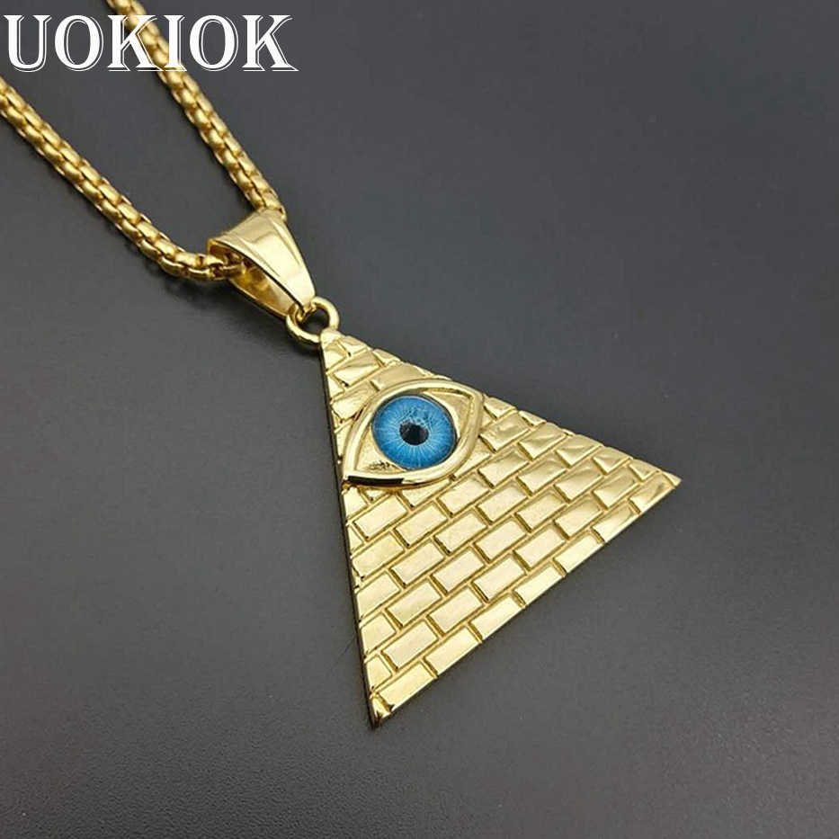 ゴールデンエジプトのピラミッド男性女性ゴールドカラーのステンレス鋼イルミナティ邪眼 horus チェーンジュエリー