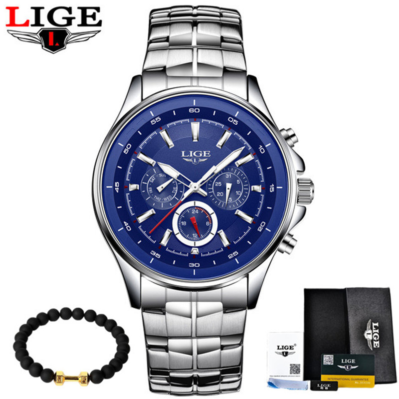 LIGE Watches Men Fashion Brand Multifunction Chronograph Quartz Watch Man Military Sport Wristwatch Male Clock Relogio Masculino new listing men watch luxury brand watches quartz clock fashion leather belts watch cheap sports wristwatch relogio male gift
