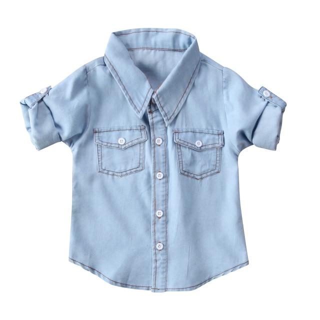 b016fd9c58 Moda niño lindo niños bebé infantil Niños Niñas Camisa vaquera Tops ropa  adorable bebé manga larga